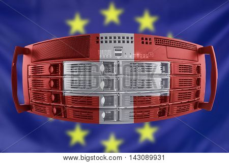 Concept Server with the Flags of Europe and Switzerland for use as country or european internet and hardware security image idea