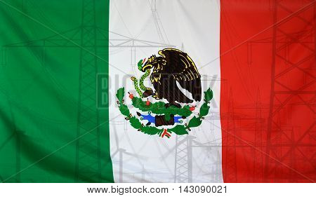 Concept Energy Distribution Flag of Mexico merged with high voltage power poles