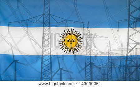 Concept Energy Distribution Flag of Argentina merged with high voltage power poles
