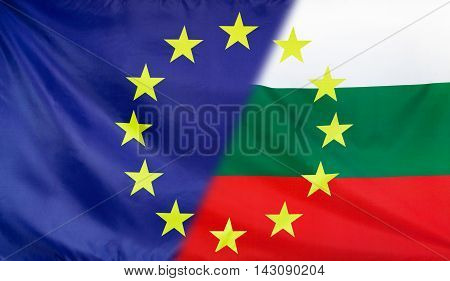 Bulgaria and European Union relations concept with diagonally merged flags