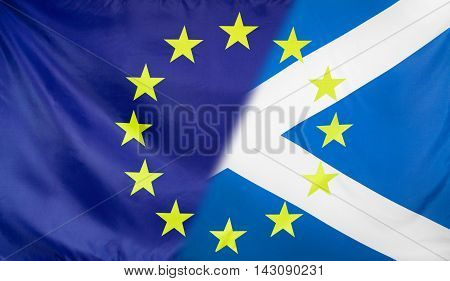 Scotland and European Union relations concept with diagonally merged flags