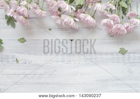 Beautiful pink chrysanthemums on a rustic wooden white background, natural autumn style decorations. Background space for text. Natural floral border background vintage mock up.