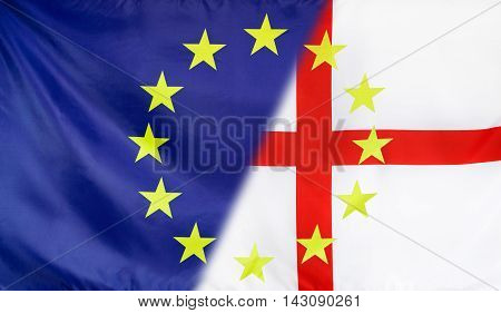 England and European Union relations concept with diagonally merged flags