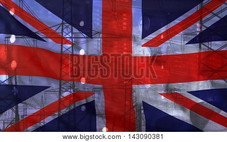 Concept Technology Environment Flag of Great Britain merged with technology high voltage power poles and electrical power plant cooling towers