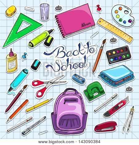 Vector illustration of Back to School supplies. Stickers school supplies. Vector illustration for your design