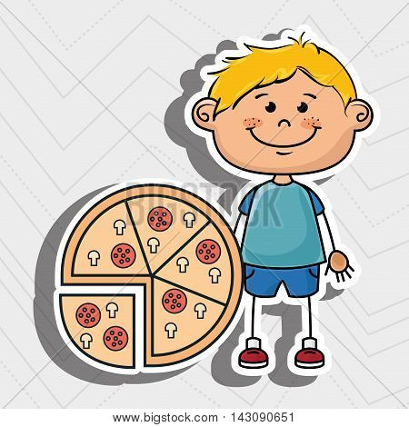 boy pizza fast food vector illustration graphic