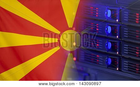 Technology concept consisting of server hardware merging with the Flag of Macedonia for use as local or country internet and hardware security image idea
