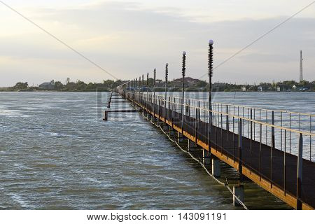 Bridge over the beautiful stormy firth in Odessa region near Black Sea, Ukraine