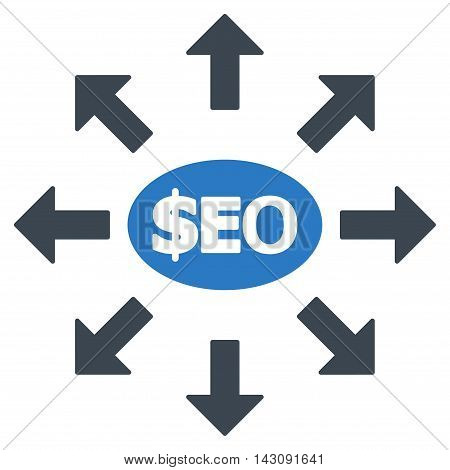 Seo Marketing icon. Vector style is bicolor flat iconic symbol with rounded angles, smooth blue colors, white background.