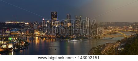 Pittsburgh Skyline sunset and twilight transition concept