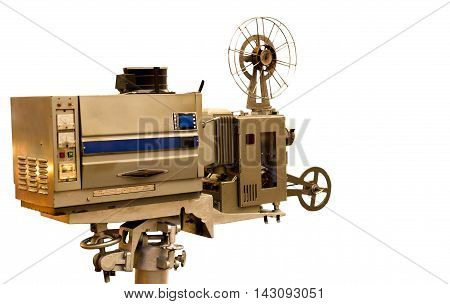 Vintage Film Projector isolated in white background