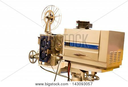 Selected focus Vintage Film Projector isolated in white background