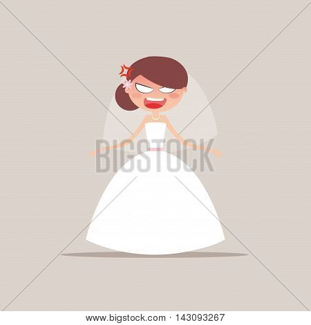 Cute girlfriend with a wedding dress and a particular expresion face on a gray background