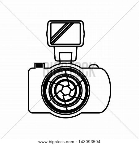 Photo camera with flash icon in outline style isolated on white background. Shooting symbol