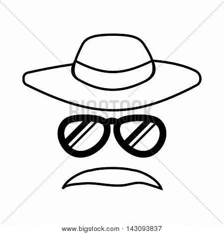 Detective incognito icon in outline style isolated on white background. Police symbol