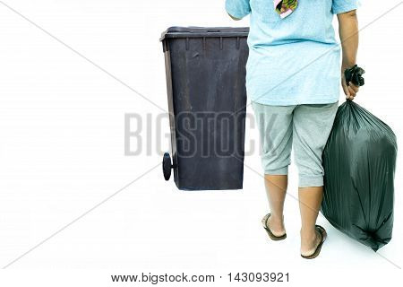 Woman with garbage bag near garbage bin in white background