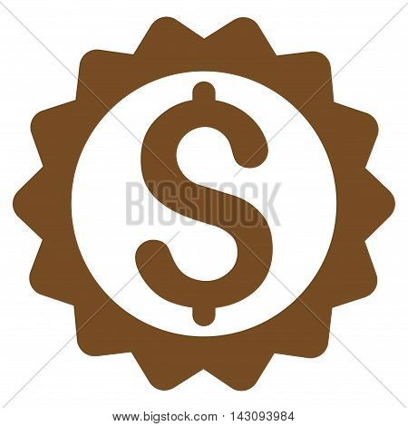 Financial Seal icon. Vector style is flat iconic symbol with rounded angles, brown color, white background.