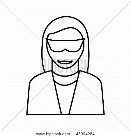 Female detective icon in outline style isolated on white background. Police symbol