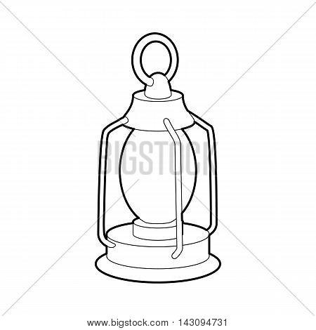 Kerosene lamp icon in outline style isolated on white background. Illumination symbol