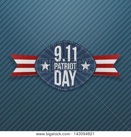 Patriot Day 9-11 Emblem with Ribbon. Vector Illustration