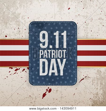 Patriot Day festive paper Tag. Vector Illustration