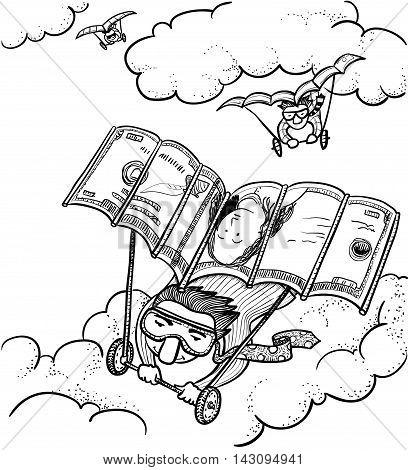 Businessmen fly on deltoplane vector doodle version