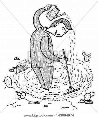 Selfmade businessman watering himself  doodle vector illustration
