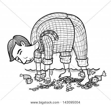 Businessman fishing money underwater vector doodle version