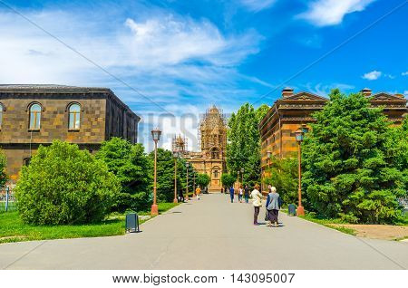 VAGHARSHAPAT ARMENIA - MAY 30 2016: The street in Mother See of Holy Etchmiadzin Complex with the view on the Cathedral on May 30 in Vagharshapat.