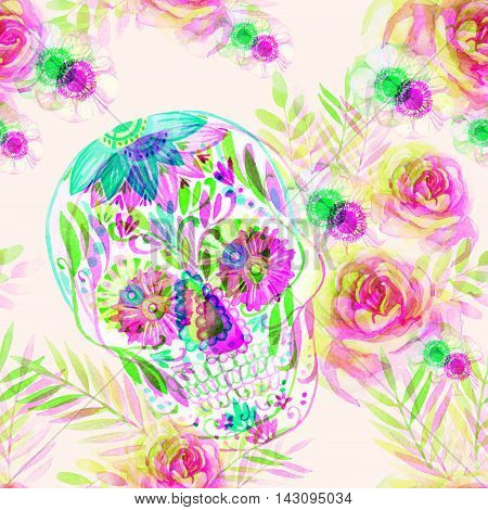 Watercolor mexican sugar skull among the flowers seamless pattern. Day of the dead holiday background. Hand painted illustration with double color exposure glitch effect