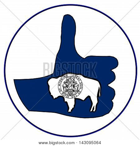 Wyoming Flag hand giving the thumbs up sign all over a white background