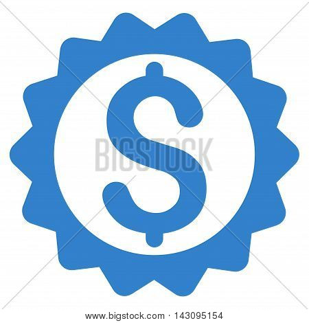 Financial Seal icon. Vector style is flat iconic symbol with rounded angles, cobalt color, white background.