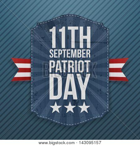September 11th Patriot Day paper Emblem. Vector Illustration