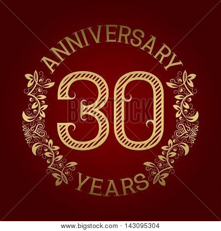 Golden emblem of thirtieth anniversary. Celebration patterned sign on red.
