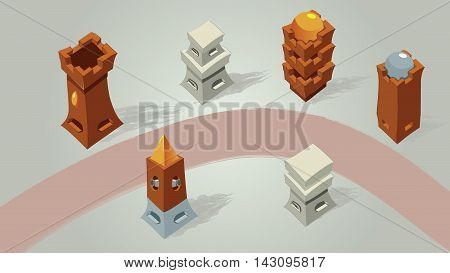 MIddle ages 3d buildings. Isometric buildings. Antique castles and towers for strategic games. Medieval Florence  bunker from top view. Bird view isometric look from the above.