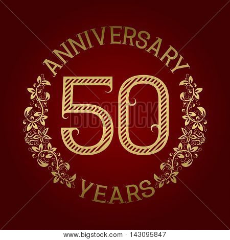 Golden emblem of fiftieth anniversary. Celebration patterned sign on red.