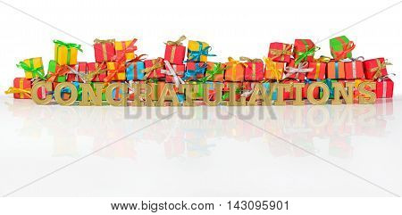 Congratulations Golden Text And Varicolored Gifts