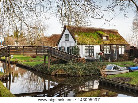 Canal in Giethoorn, Netherlands.