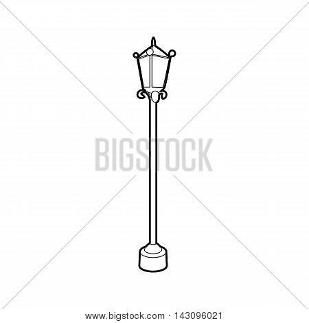 Street lamp icon in outline style isolated on white background. Illumination symbol