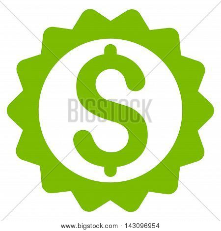 Financial Seal icon. Vector style is flat iconic symbol with rounded angles, eco green color, white background.