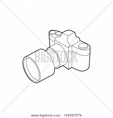 Photo camera with lens icon in outline style isolated on white background. Shooting symbol