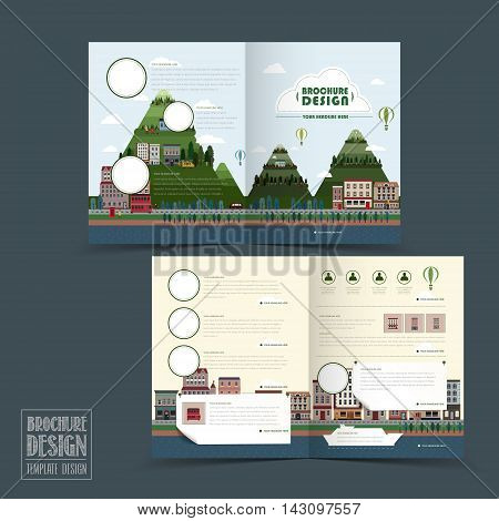 Adorable Town Scenery Half-fold Brochure Template
