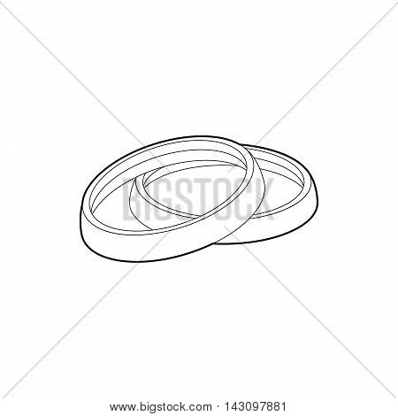 Filter for camera icon in outline style isolated on white background. Shooting symbol