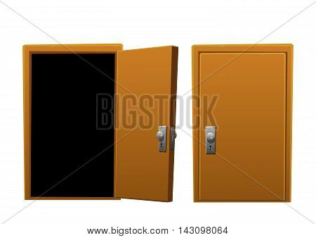 bright cartoon brown wooden door open and closed isolated