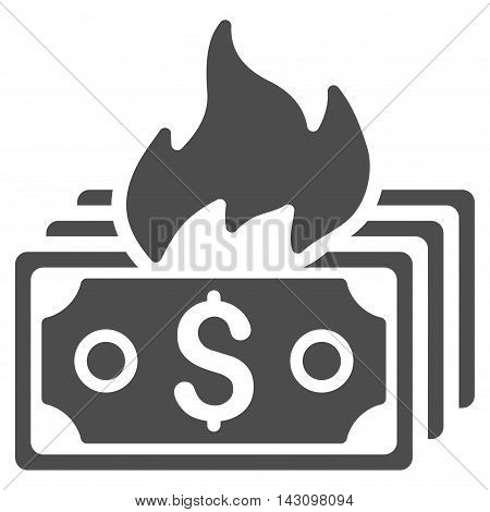 Burn Banknotes icon. Vector style is flat iconic symbol with rounded angles, gray color, white background.