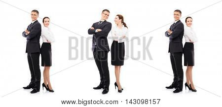 Set collage of business people. Businessman and businesswoman isolated on white.