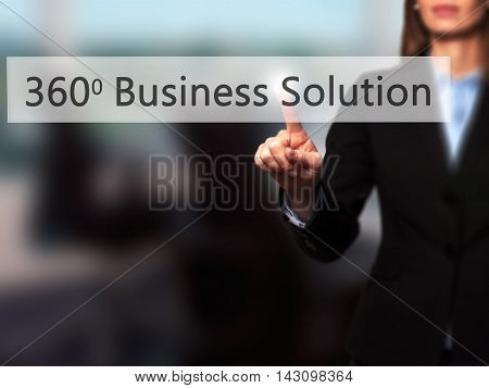 360 Business Solution - Isolated Female Hand Touching Or Pointing To Button