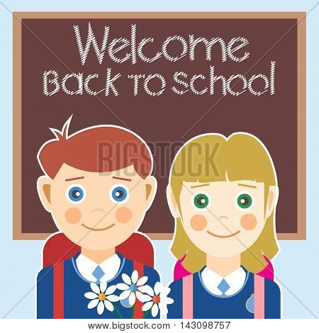 Welcome back to school card with a boy a girl and flowers. Digital vector image