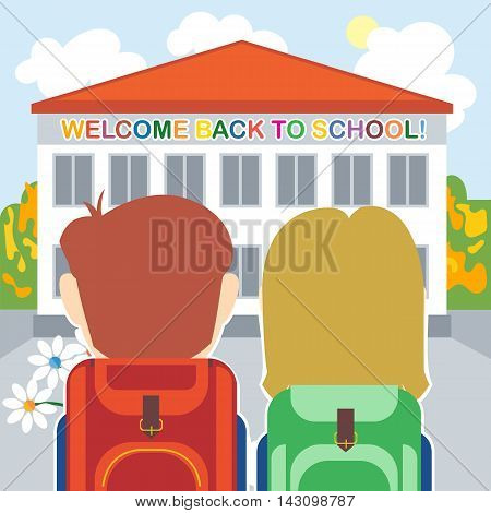 Welcome back to school card with a boy a girl and flowers in front of the building. Digital vector image