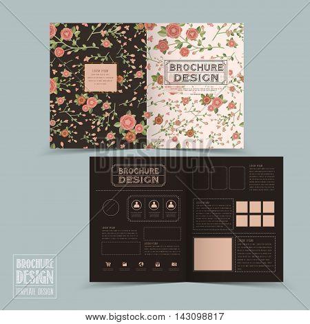 Graceful Floral Half-fold Brochure Template Design